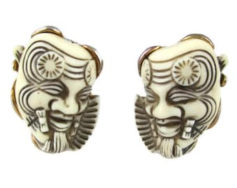 Vintage  Selro and Selini White Okina (Hakushikijyo) Noh Mask Gold Tone Clip Earrings