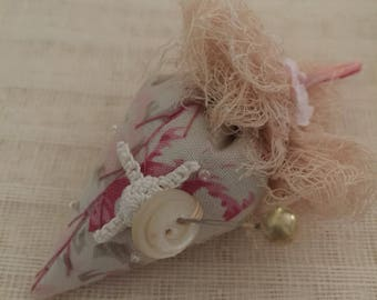 Strawberry Pincushion, Hand Embroidery, vintage crochet snippet, MOP button, 1940s millinery bloom