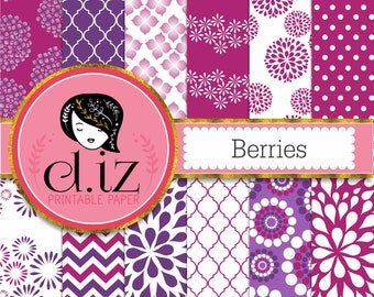 Raspberry digital paper 'Berries' purple digital paper in 12 raspberry red and purple backgrounds