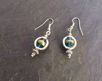 Earrings blue/green, gold and silver ♥ ♥