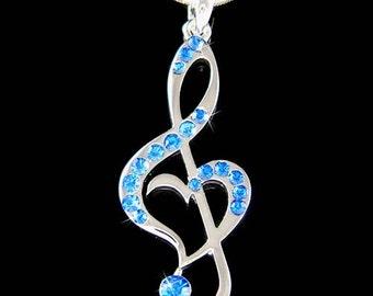 Royal Blue Swarovski Crystal TREBLE G CLEF Love Music Musical Note Heart Pendant Necklace