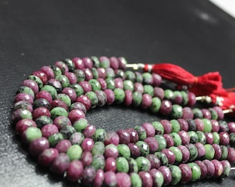 """AAAA natural RUBY ZOISITE faceted rondelle beads 8""""inches 8mm-9mm"""