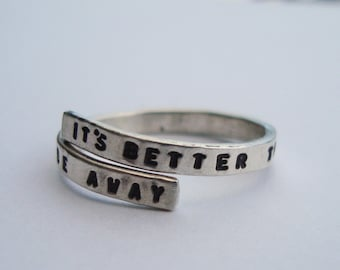 Kurt Kobain /Nirvana handstamped Silver quote Ring 'It's better to burn out than to fade away' Sterling Silver 925 -Adjustable