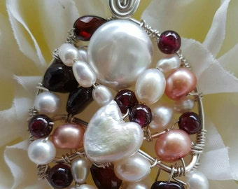 PENDANT Garnet & Apricot Pearl Wire wrapped Sterling silver Round Pendant