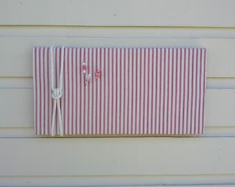 Linen Ticking Pin Board, Red and White striped Bulletin Board with cotton rope detailing, memo or message board nautical design