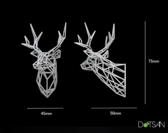 Small 1/12 Scall 3D printed faceted white Stag Head 75mm high Dolls House
