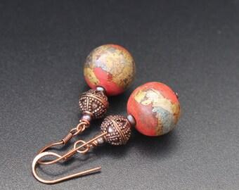 Lampwork earrings / Artisan lampwork beads and copper earrings / Rustic earrings / Ethnic earrings / Coral and gold