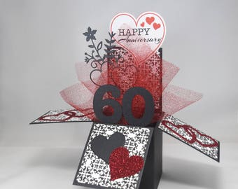 3D  Wedding Anniversary Card, Box Card with Hearts
