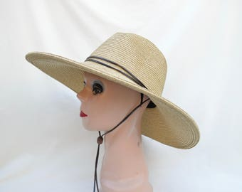 Women's Large Brim Tan Fedora Style Sun Hat With Chin Cord /Women's Large And Extra Large Head Sizes Available Crushable Packable Sun Hat