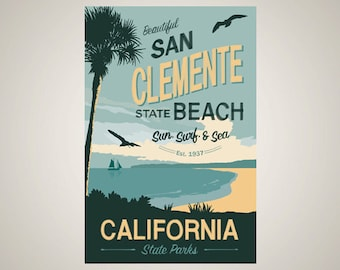 San Clemente State Beach Travel Posters – Digital Download
