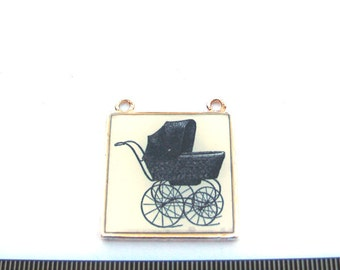 Silver Metal Frame, Vintage Baby Stroller Graphic 30mm x 30mm SquareTwo loops Pendant, 1003-25