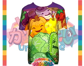 Kawaii Universe - Cute Fruits and Veggies Rainbow Designer Tee Shirt