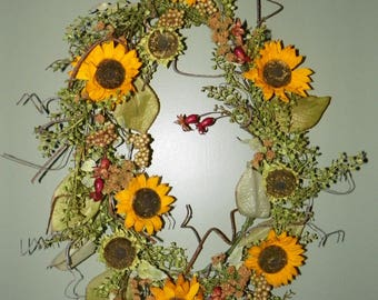 Sunflower Oval Wreath 26 x 20, Fall Colors of Sunflowers, Berries and Leaves Perfect for your Entrance, Kitchen, Living Room, Dining