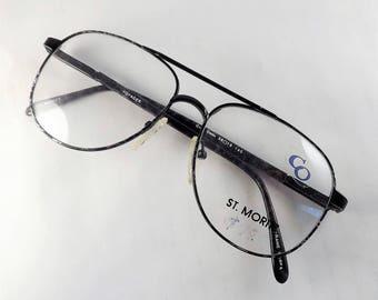 Mens Tortoise Eyeglasses Frames, Black Aviator Eyeglasses,Mens Metal Glasses, Large Black Frames w Gray, Flexible Temple Arms, New old Stock