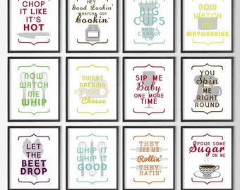 Funny Modern Kitchen Wall Art   Whip it, Whip it Good   Pour Some Sugar on me   They see me Rollin, They Hatin Printable   Hey Good Lookin