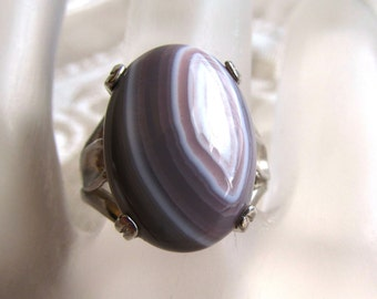 13x18mm Botswanan Agate Cabochon Sterling Silver Ring Size 8