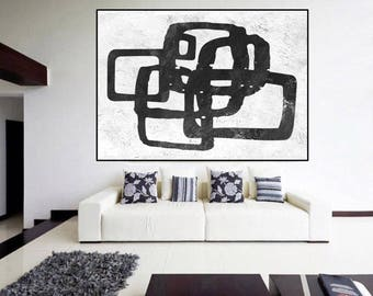 large Black and White painting, original abstract Painting on canvas, large Abstract Painting, large wall Art, modern wall decor