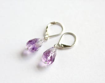Shaded Amethyst Earrings Sterling Silver Faceted Teardrop Briolette Shaded Amethyst Jewelry Purple Earrings Violet Earrings Elegant #17564