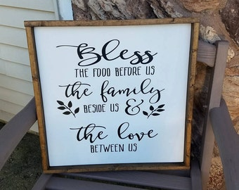 Bless the Food Before Us Sign, Rustic Wood Sign, Farmhouse Sign, Kitchen Decor, Framed Sign, Painted Dining Room Sign