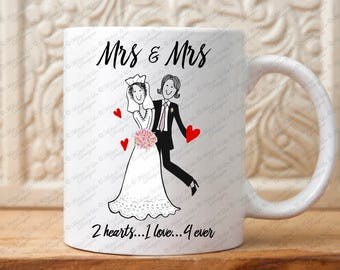 Mrs and Mrs, Lesbian wedding gift, gift for lesbian,  gay wedding, Mrs and Mrs gift, gift for women, gift for her, two bride, Shower gift