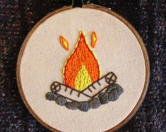 Camp Fire embroidery hoop wall art