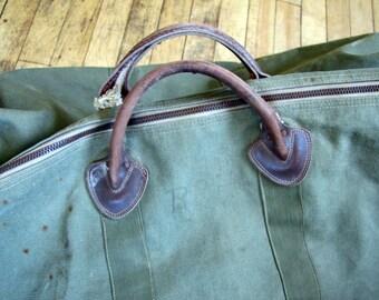 Rare 1930's LL Bean Canvas Duffel Bag, 1930's, 1940's, Rare, Rare Label, LL Bean, Duffel Bag, Canvas, Green, Leather Handles, Zipper