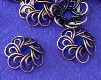 20pcs Antique Copper Wire Flower Caps