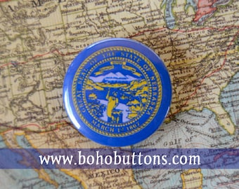 Nebraska State Flag Pinback Button, Magnet, Badge, Nebraska Button, Nebraska gift, Omaha Pin, Souvenir Gift Lincoln Nebraksa Keychain