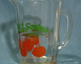 Vintage Glass Cherries Pitcher Painted Glass
