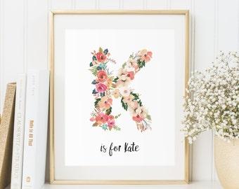 """Letter """"K"""" Download, Floral Monogram Letter, Baby Girl Monogram Nursery Wall Art, Nursery Decor, Vintage Floral Letters, Baby Name Wall Art"""