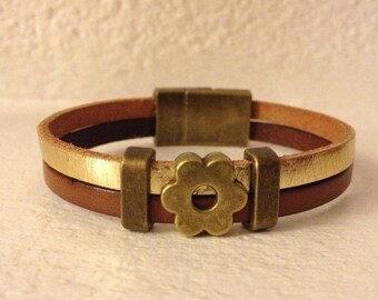 BRACELET 2 ROWS BROWN LEATHER AND GOLD