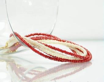 Red Bracelet 8 inch Bracelet Twisted Bead Bracelet Multi-Strand Red White Gold