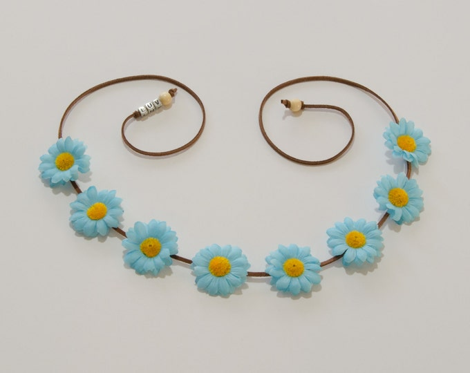 Electric Blue Daisy Flower Crown