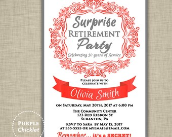 Surprise Retirement Invitation Red and Gray Farewell Celebration Invite Womans Elegant Party Printable Invite 5x7 Digital JPG File 355