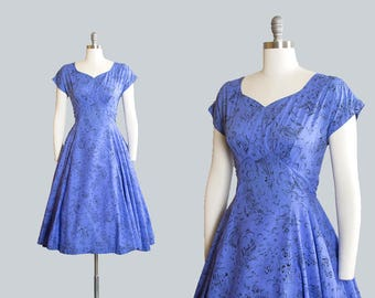 Vintage 1950s Dress | 50s Novelty Print Cotton Circle Skirt Blue Steamboat Trains Horses Day Dress (medium)