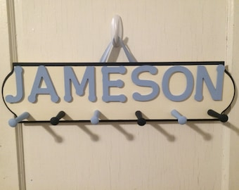 Custom Hand Painted Name Sign with Pegs -  Name Sign Coat Rack - Name sign - Personalized Coat Rack