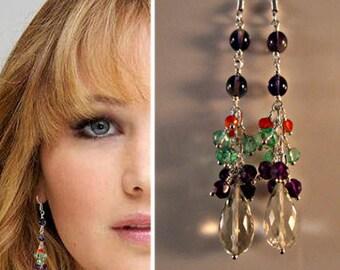 Amethyst Gemstone Cluster Earrings, gemstone earrings, silver earrings, cluster earrings, drop earrings, dangle earrings,amethyst earrings