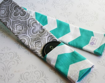 Reversible Camera Strap Cover with Lens Cap Pocket - Moroccan Gray and Turquoise Chevron - MADE TO ORDER