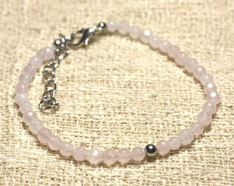 925 sterling silver and semi precious 4mm faceted Rose Quartz bracelet