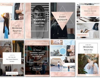 8 Rose Gold Pinterest Photoshop Templates for Bloggers