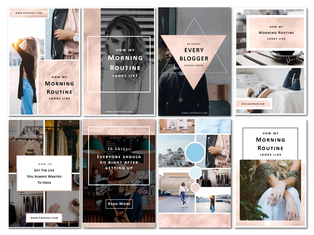 8 Rosegold Pinterest Photoshop Vorlagen für Blogger