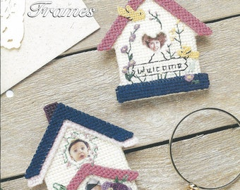 Plastic Canvas 10 and 14 Mesh Patterns Birdhouse Picture Frames