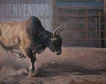 Bull. Welcome or run away. Original oil painting Handmade