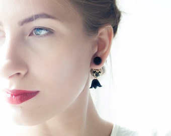 Tribal Earring, boucles d'oreilles, Stud Earring, Double Pearl Earring, Double Sided Earring, cute earrings, black and gold