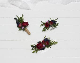 Marsala blue wedding Flower accessories Floral comb Boutonniere Bridal Bridesmaid headpiece Floral accessory Hair comb Groomsmen Burgundy