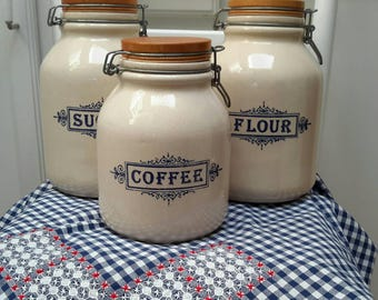 Vintage California Crock Cannister Set of Three French Farmhouse Kitchen Decor