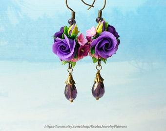 Violet Floral earrings lilac roses Earrings bride Lilac wedding Flower earrings Long drop earrings Polymer clay roses Wedding earrings