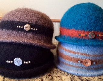Custom made felted bejeweled hat in 100% wool and endlessly possible designs