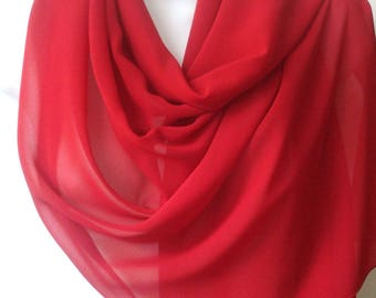 Red Scarf, Red Wrap, Red Shawl, Red Stole, Sheer Chiffon Scarf Wrap, Red Scarf Wrap, Red Wrap Scarf, Sheer Red Shawl, Sheer Red Stole