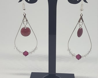 Bohemian Earrings: drop / round / Bordeaux